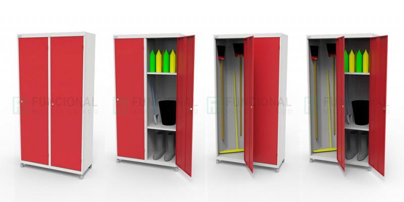 Armário de aço para material de limpeza